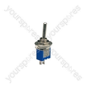 Sub-miniature toggle switch, 2 x on/on, 9.2 x 8.2mm, 250Vac, 1A