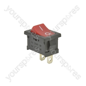 Rocker switch, 1 x on/of, 15.25 x 21.5mm, 250Vac, 6A