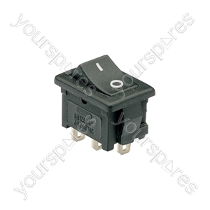 Rocker switch, 1 x on/on, 13 x 20mm, 250Vac, 3A