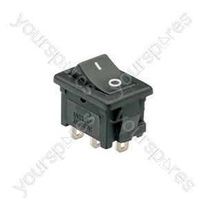 Rocker switch, 1 x on/on, 13 x 20mm, 250Vac, 3A