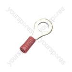 Crimp terminal, ring, 0.5 - 1.5mmØ cable, Red, 4.3mm