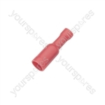 Crimp terminal, female bullet, 0.5 - 1.5mmØ cable, 4.0mm, Red