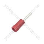 Crimp terminal, short pin, 0.5 - 1.5mmØ cable, Red