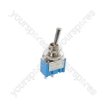 Miniature toggle switch, 1 x on/on, 7.9 x 13.2mm, 250Vac, 3A