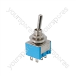 Miniature toggle switch, 2 x on/off/on, 11.5 x 12.5mm, 250Vac, 3A