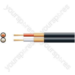 Standard 2 Core Figure 8 Individual Lap Screened Cables - screen, x 13/0.1mm, x 32/0.1mm, Black, 100m
