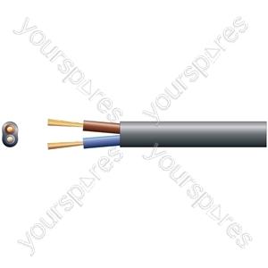 2192Y 2 Core Oval PVC, 300/300V, HO3VVH2-F2, 6A - mains x 24/0.2mm, 6A, Black, 100m