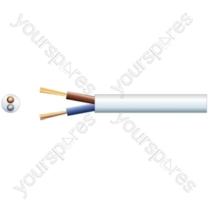 2 core round mains PVC, 2 x 24/0.2mm, 6A, 5.8mmØ, White, 100m