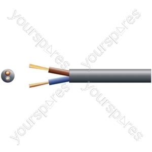 2182Y 2 Core Round PVC, 300/300V, HO3VV-F2, 6A - mains x 24/0.2mm, 6A, 5.8mmØ, Black, 100m