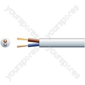 3182Y 2 Core Round PVC, 300/500V, HO5VV-F2, 15A - mains x 48/0.2mm, 15A, 7.4mmØ, White, 100m