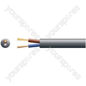 3182Y 2 Core Round PVC, 300/500V, HO5VV-F2, 15A - mains x 48/0.2mm, 15A, 7.4mmØ, Black, 100m