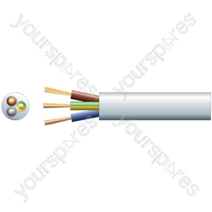 3 core round mains PVC, 3 x 48/0.2mm, 15A, 8.7mmØ, White, 100m