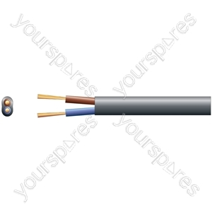 2192Y 2 Core Oval PVC, 300/300V, HO3VVH2-F2, 3A - mains x 16/0.2mm, 3A, Black, 100m