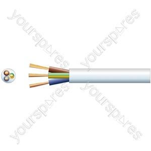 2183Y 3 Core Round PVC, 300/300V, HO3VV-F3, 6A - mains x 24/0.2mm, 6A, 6.1mm, White, 100m
