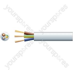 3183Y 3 Core Round PVC, 300/500V, HO5VV-F3, 13A - mains x 40/0.2mm, 13A, 7.8mmØ, White, 100m