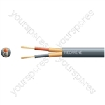 2 core rubber, 2 x 12/0.18mm, 2 x 96/0.1mm, 6.5mmØ, Black, 100m