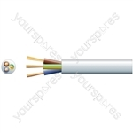 3 core round mains PVC, 3 x 32/0.2mm, 10A, 7.2mmØ, White, 100m