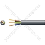 3183Y 3 Core Round PVC, 300/500V, HO5VV-F3, 10A - mains x 32/0.2mm, 10A, 7.2mmØ, Black, 100m