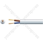 2 core round mains PVC, 2 x 24/0.2mm, 6A, 6.35mmØ, White, 100m