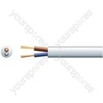 3182Y 2 Core Round PVC, 300/500V, HO5VV-F2, 6A - mains x 24/0.2mm, 6A, 6.35mmØ, White, 100m