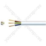 3 core round mains PVC, 3 x 16/0.2mm, 3A, 5.6mmØ, White, 100m