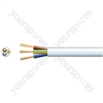 3 core round mains PVC, 3 x 24/0.2mm, 6A, 6.1mm, Black, 100m