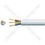 3 core round mains PVC, 3 x 40/0.2mm, 13A, 7.8mmØ, White, 100m