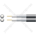 Economy Twin RG6 75 Ohms Foam Filled Coaxial Cable - Aluminium Braid - Foamed PE with 250m Black