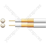 Twin 100U Foamed PE Coaxial Cable with CCA Braid - 100m Black