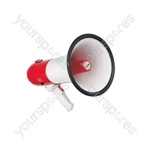 Heavy duty pistol grip megaphone, with siren, 20W max.