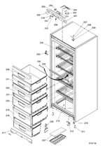 Hello Kenneth,  please see the attached diagram. item 226 is http://www.yourspares.co.uk/parts/ys56747/indesit-drawer-front-C00195901.aspx item 224 http://www.yourspares.co.uk/parts/ys51921/indesit-refrigerator-drawer-extension-C00144593.aspx 222 is not available 220 is not available 218 is not available 216 is also unavailable http://www.yourspares.co.uk/parts/ys11468/frz-drawer-assembly-pwgreen-h197-C00216538.aspx