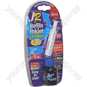 JR Inkjet Printer Ink Cartridge Refill Kit | Cyan | 30ml