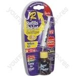 JR Inkjet Printer Ink Cartridge Refill Kit | Yellow | 30ml