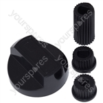 Universal Motorhome Cooker Oven Grill Control Knob And Adaptors Black Fits All Gas Electric