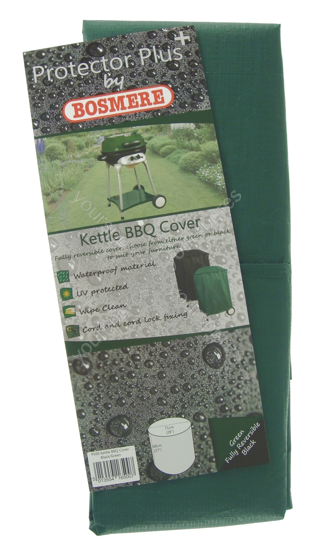 Bosmere Riding Mower Reversible Cover Black/Green Patio, Lawn ...
