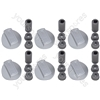 Universal Cooker Oven Grill Control Knobs And Adaptors Silver Fits All Gas Electric x 6