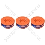 3 x Spool & Line For Qualcast Strimmers 1.5 mm x 2 mm x 5 metre