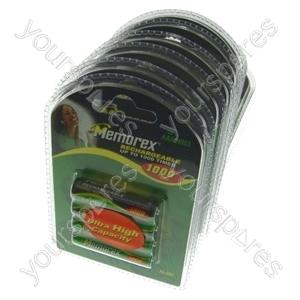 Memorex AAA R03 1000mah Rechargeable Batteries Pack Of 4 x 10