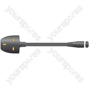 Mains Lead, 3-pin UK plug - calculator plug, 10.0m, black, blister packed