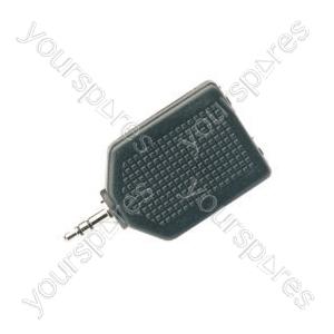 Adaptor 3.5mm stereo plug to 2 x 6.3mm stereo sockets