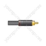 Gold plated, teflon insulated RCA plug, Red
